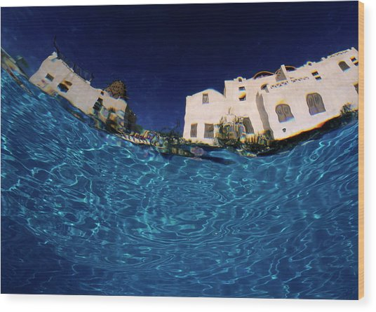 Blurred View Of A Hotel From Underwater Wood Print by Sami Sarkis