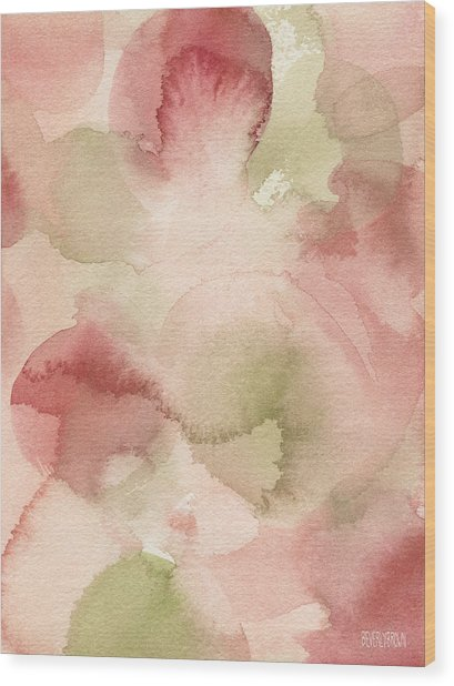 Blush Pink Green Persimmon Wood Print