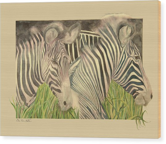 Zebra Blushing Stripes Wood Print