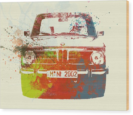 Bmw 2002 Front Watercolor 2 Wood Print