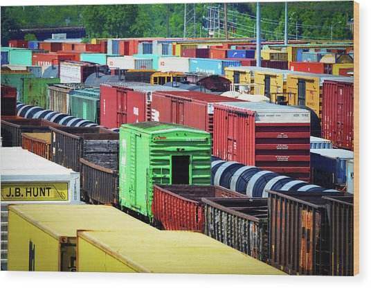 Wood Print featuring the photograph Bnsf Lindenwood Yard by Matthew Chapman