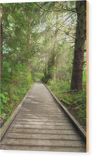 Boardwalk Along Hiking Trail At Fort Clatsop Wood Print