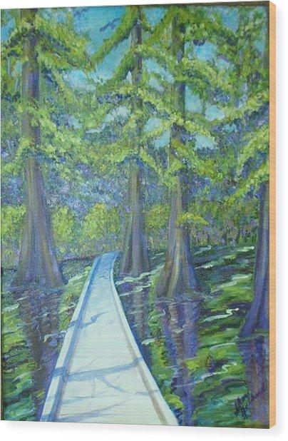 Boardwalk At Cypress Preserve Wood Print by Sheri Hubbard