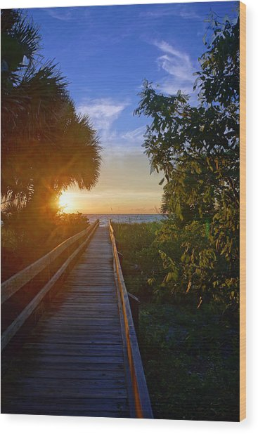 Sunset At The End Of The Boardwalk Wood Print