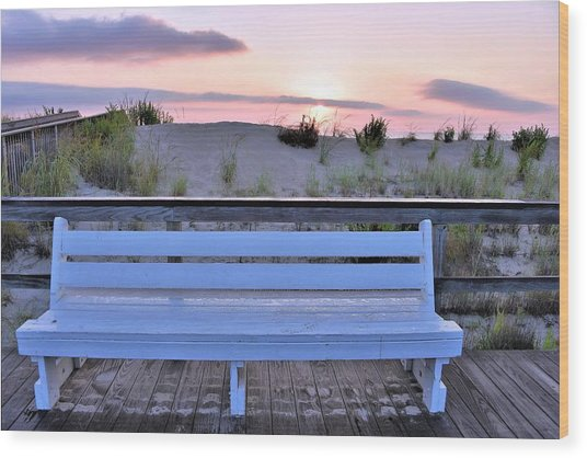 A Welcome Invitation -  The Boardwalk Bench Wood Print