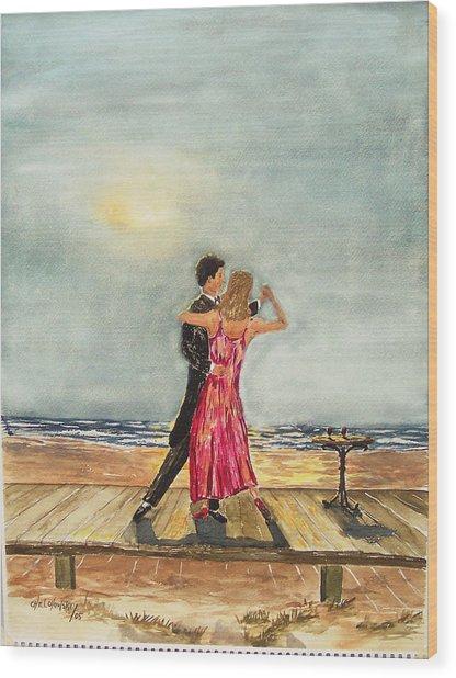 Boardwalk Dancers Wood Print