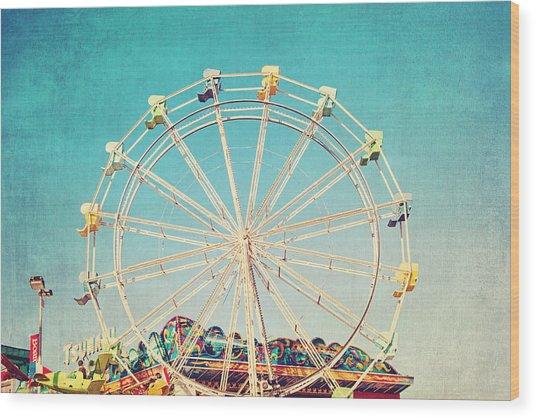 Boardwalk Ferris Wheel Wood Print