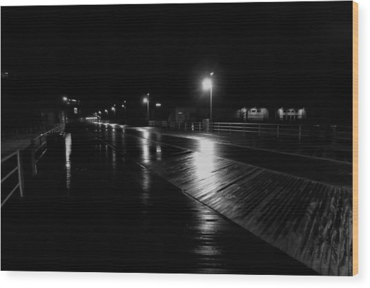 Boardwalk In The Still Of The Night Wood Print