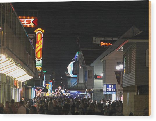 Boardwalk Night Lights Wood Print