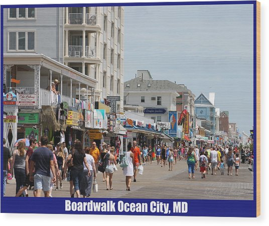 Boardwalk Ocean City Md Wood Print