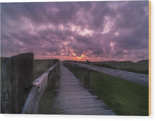 Boardwalk To Pacific Ocean Wood Print