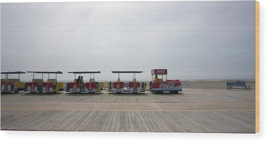 Boardwalk Tram Wood Print