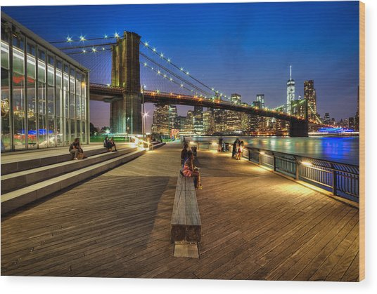 Boardwalk View At Brooklyn Bridge Park Wood Print by Daniel Portalatin