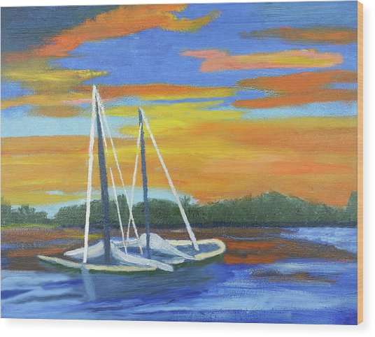 Boat Adrift Wood Print
