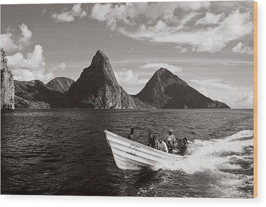 Boat And Pitons-st Lucia Wood Print