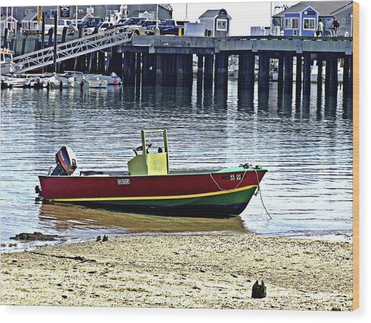 Boat At The Beach Provincetown Wood Print
