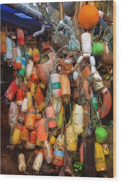 Wood Print featuring the photograph Crab Pot Buoys by Thom Zehrfeld