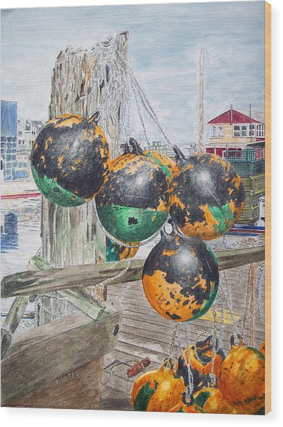 Wood Print featuring the painting Boat Bumpers by Dominic White