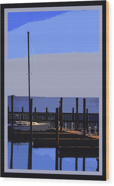 Boat  Dock  In  Blue Wood Print by Linwood Branham