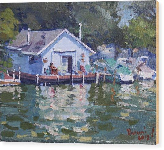 Boat House At Tonawanda Canal Wood Print