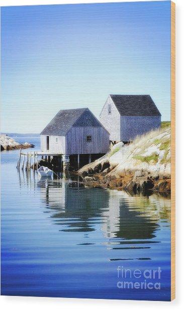 Boat Houses Wood Print