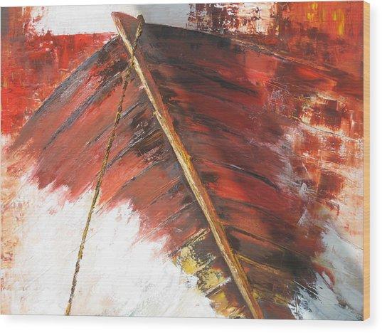 'boat In  Storm' Wood Print by Marina Harris