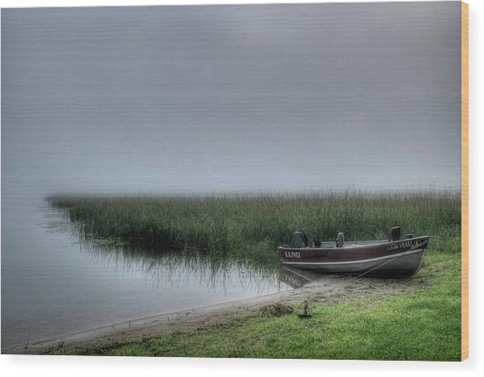 Boat In The Fog Wood Print