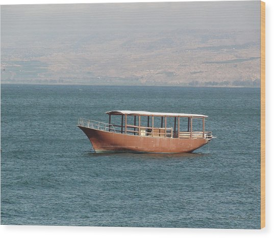Boat On Sea Of Galilee Wood Print