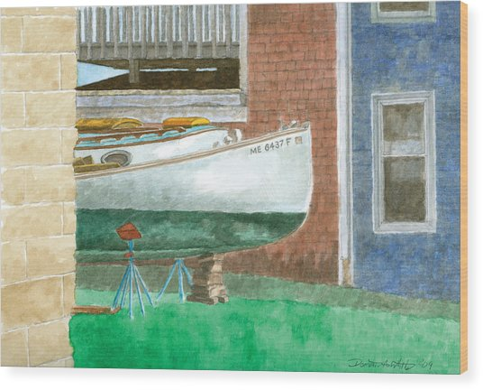 Boat Out Of Water - Portland Maine Wood Print