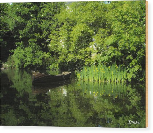 Boat Reflected On Water County Clare Ireland Painting Wood Print