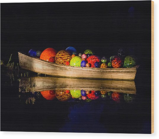 Boat Reflections Wood Print