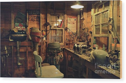 Boat Repair Shop Wood Print