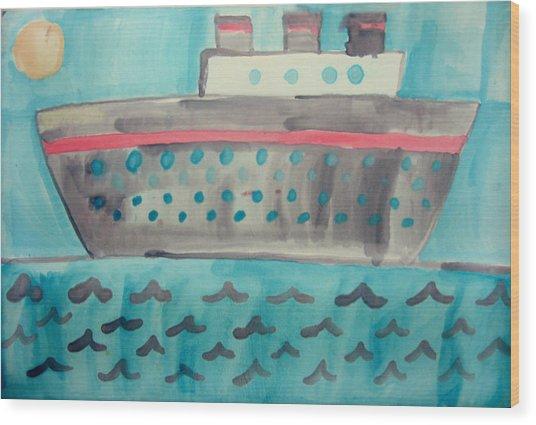 Boat Wood Print by Sean Cusack