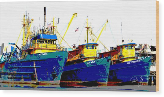 Boat Series 12 Fishing Fleet 2 Empire Wood Print