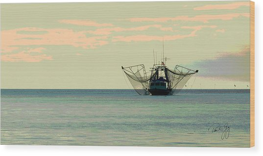 Boat Series 30 Shrimp Boat Gulf Of Mexico Louisiana Wood Print