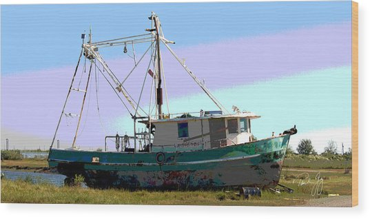 Boat Series 5 West Pointe A La Hache 2 Grounded Wood Print by Paul Gaj