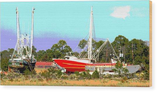 Boat Series 8 Shipyard Bayou La Batre Wood Print by Paul Gaj
