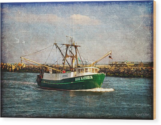 Wood Print featuring the photograph Boat Texture Manasquan Inlet by Angel Cher