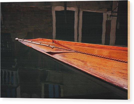 Boat Venice Italy Wood Print by Xavier Cardell