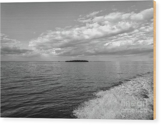 Boat Wake On Florida Bay Wood Print