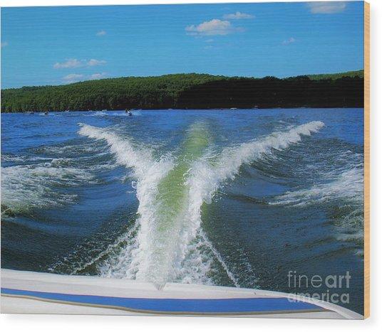 Boat Wake Wood Print