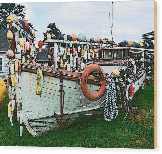 Boat Yard Wood Print