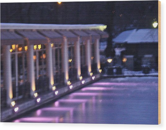 Boathouse - Central Park Nyc Wood Print