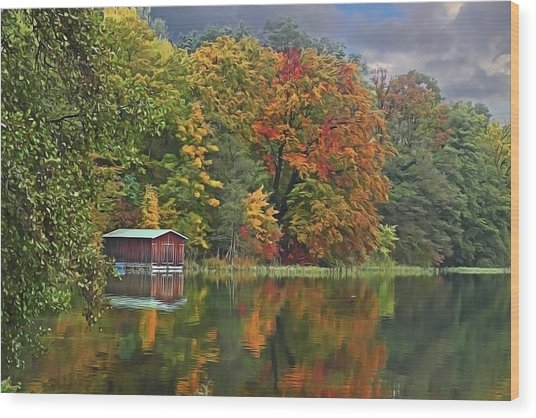 Boathouse Wood Print