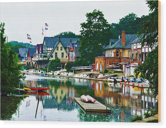 Boathouse Row In Philly Wood Print