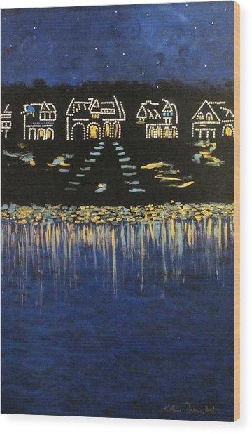 Boathouse Row Wood Print