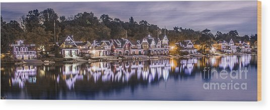 Boathouse Row Night Blue Wood Print