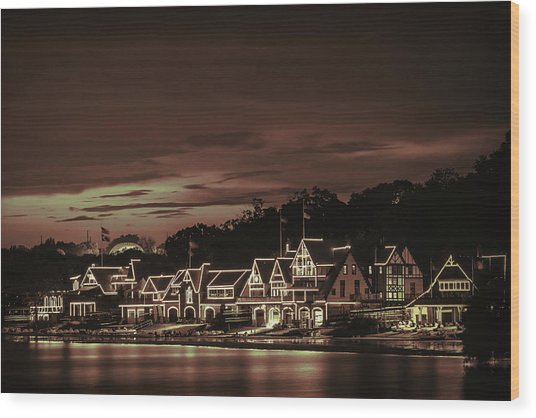 Boathouse Row Philadelphia Pa Night Retro Wood Print