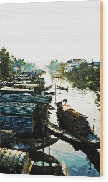 Boathouses In Vietnam Wood Print