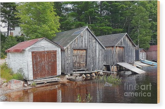 Boathouses - Mcadam Nb Wood Print